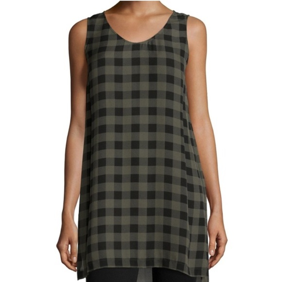 b69a9589a6a Eileen Fisher Tops - Eileen Fisher Sleeveless Buffalo Check Silk Tunic
